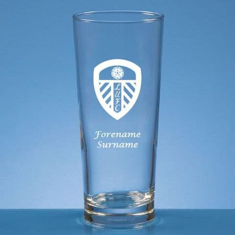 Personalised Leeds United FC Straight Sided Pint Beer Glass