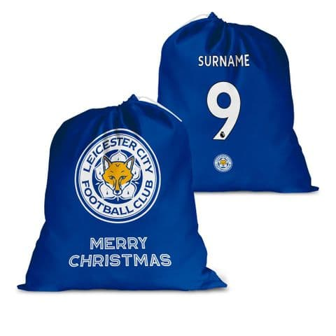 Personalised Leicester City FC Back of Shirt Santa Sack