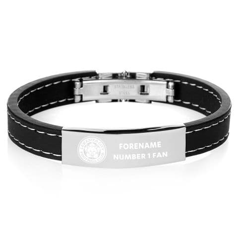 Personalised Leicester City FC Steel & Rubber Bracelet