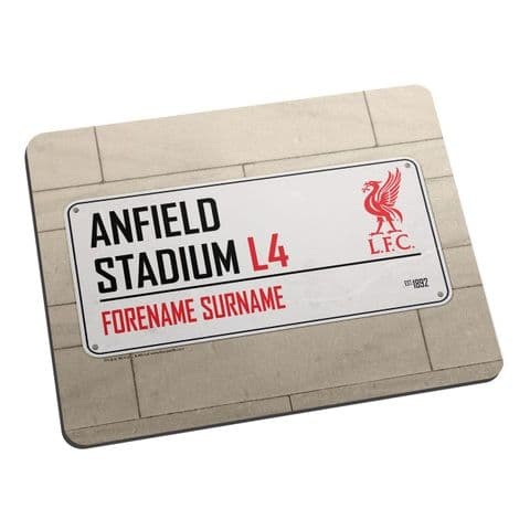 Personalised Liverpool FC Anfield Stadium Street Sign Mouse Mat