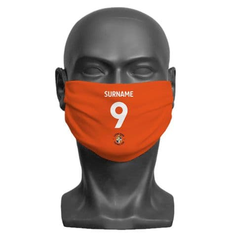 Personalised Luton Town FC Back of Shirt Adult Face Covering / Mask
