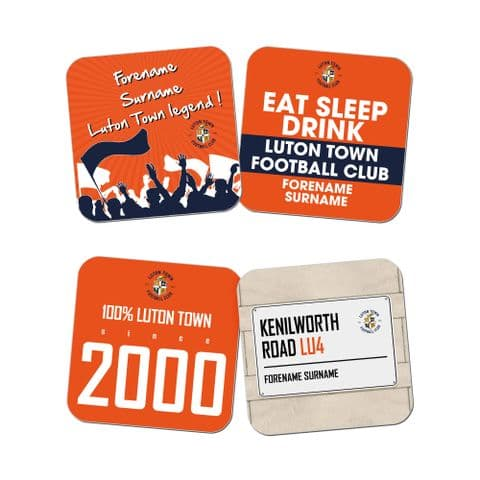 Personalised Luton Town FC Coasters - Pack of 4