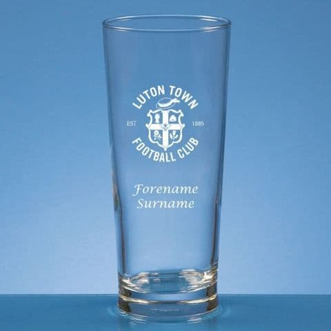 Personalised Luton Town FC Straight Sided Pint Beer Glass