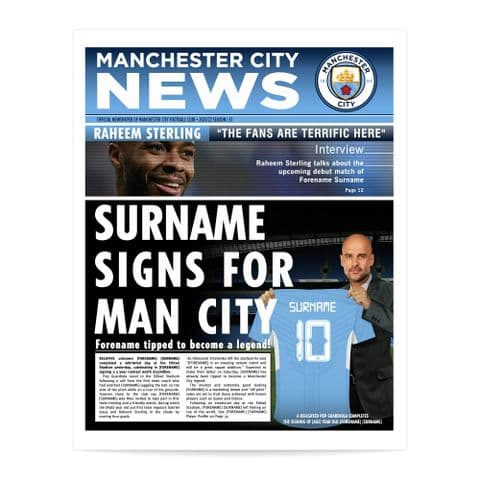 Personalised Manchester City FC Newspaper