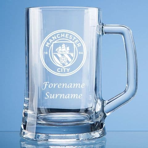Personalised Manchester City FC Pint Glass Tankard