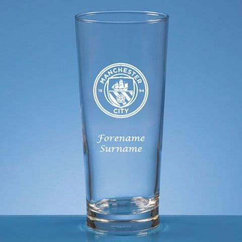 Personalised Manchester City FC Straight Sided Pint Beer Glass
