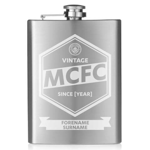 Personalised Manchester City FC Vintage Hip Flask