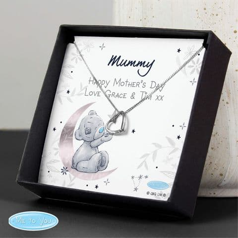 Personalised Me To You Moon & Stars Sentiment Silver Tone Necklace and Box