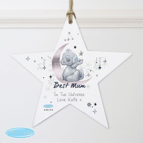 Personalised Me To You Moon & Stars Wooden Star Decoration