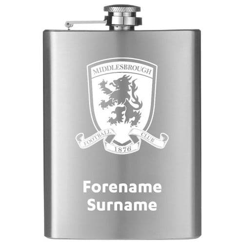 Personalised Middlesbrough FC Crest Hip Flask