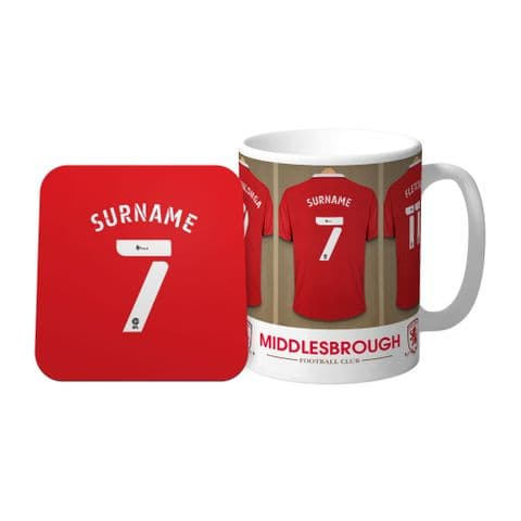 Personalised Middlesbrough FC Dressing Room Mug & Coaster Set