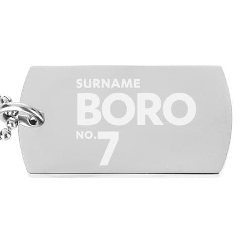 Personalised Middlesbrough FC Number Dog Tag Pendant
