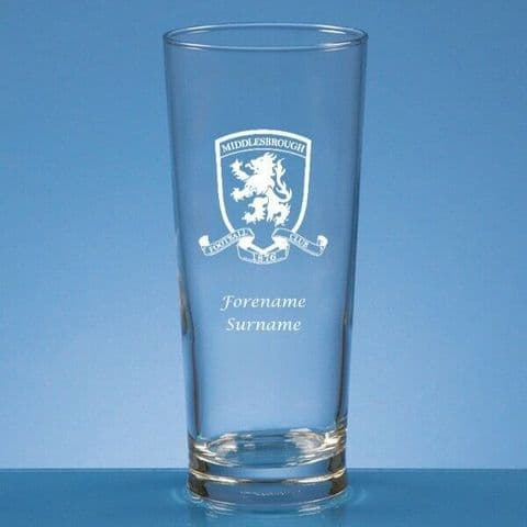 Personalised Middlesbrough FC Straight Sided Pint Beer Glass