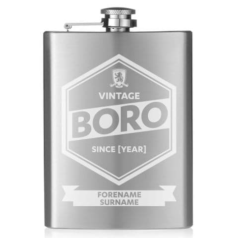 Personalised Middlesbrough FC Vintage Hip Flask