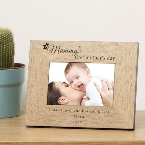 Personalised Mummy's First Mother's Day Wood Frame 6x4 or 5x7 Landscape