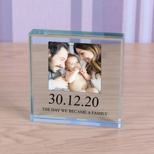Personalised New Family Glass Token With Photo