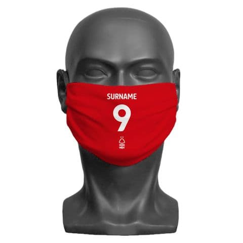 Personalised Nottingham Forest FC Back of Shirt Adult Face Covering / Mask