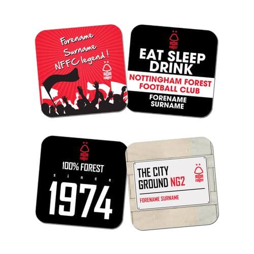Personalised Nottingham Forest FC Coasters - Pack of 4