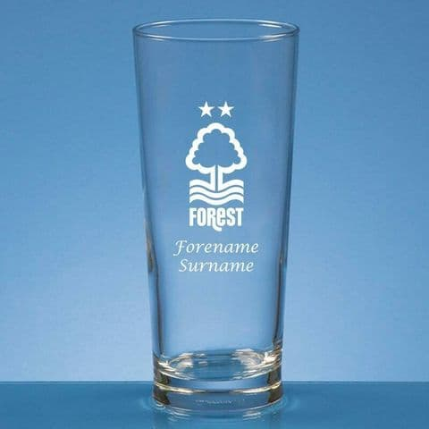 Personalised Nottingham Forest FC Straight Sided Pint Beer Glass