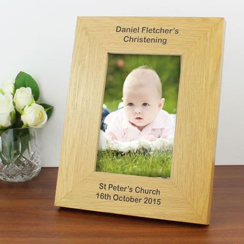 Personalised Portrait 6x4 Oak Finish Photo Frame - Long Message