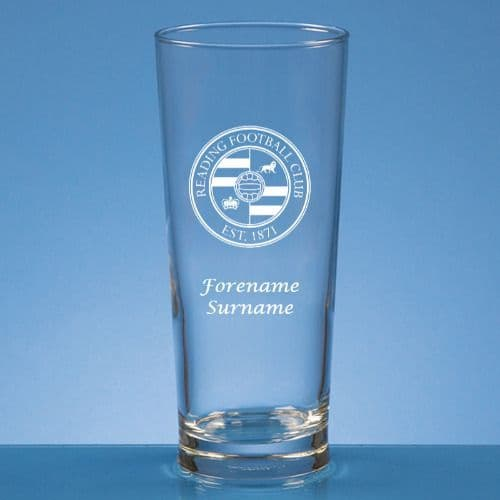 Personalised Reading FC Straight Sided Pint Beer Glass