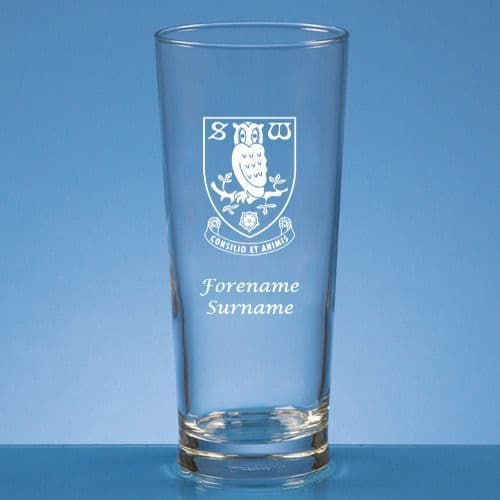 Personalised Sheffield Wednesday FC Straight Sided Pint Beer Glass