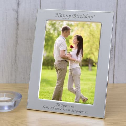 Personalised  Silver Plated Photo Frame 6x4 or 5x7, Portrait or Landscape