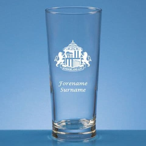 Personalised Sunderland  AFC Straight Sided Pint Beer Glass