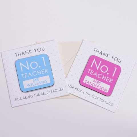 Personalised Thank You No. 1 Teacher Coaster and Card