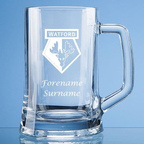 Personalised Watford FC Pint Glass Tankard