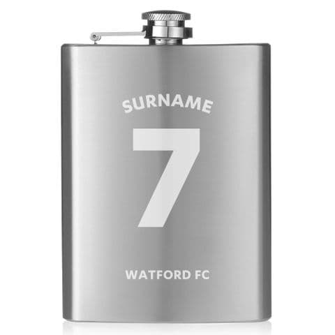 Personalised Watford FC Shirt Hip Flask