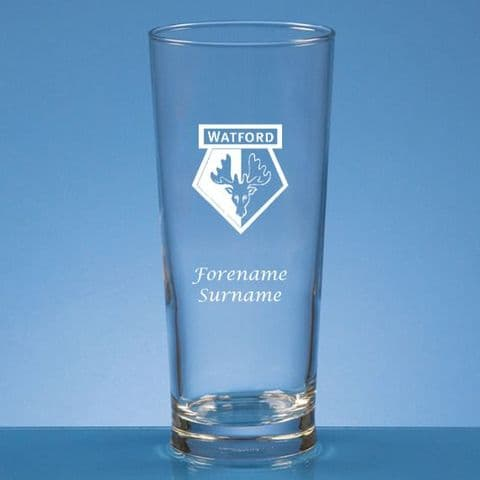 Personalised Watford FC Straight Sided Pint Beer Glass