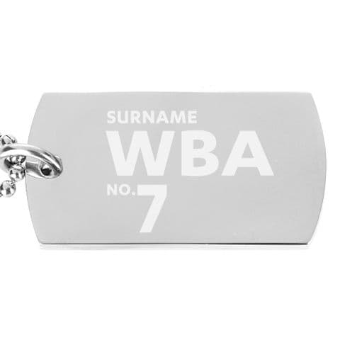 Personalised West Bromwich Albion FC Number Dog Tag Pendant