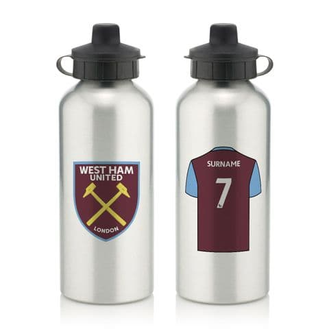 Personalised West Ham United FC Aluminium Water Bottle