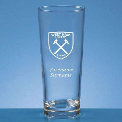 Personalised West Ham United FC Straight Sided Pint Beer Glass