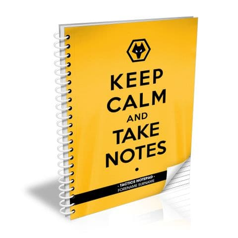 Personalised Wolves Keep Calm Notebook
