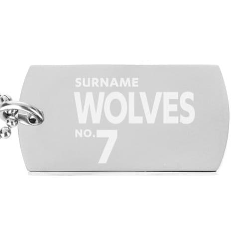 Personalised Wolves Number Dog Tag Pendant