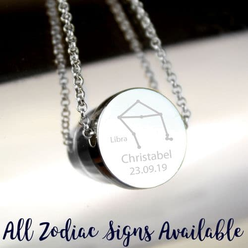 Personalised Zodiac Star Sign Silver Tone Disc Necklace