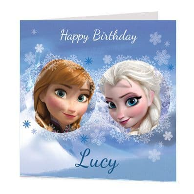 Anna & Elsa Luxury Personalised Card - Frozen - Official Disney Licensed