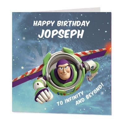 Buzz Lightyear Luxury Personalised Birthday Card - Toy Story - Official Disney Licensed