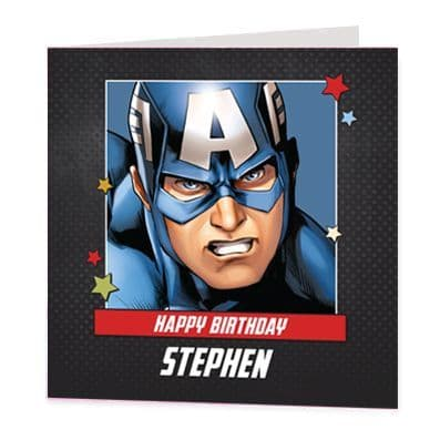 Captain America Luxury Personalised Birthday Card - The Avengers - Official Disney Licensed