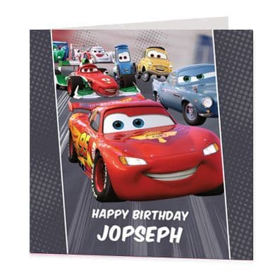 Cars Luxury Personalised Birthday Card - Lightning Mcqueen - Official Disney Licensed