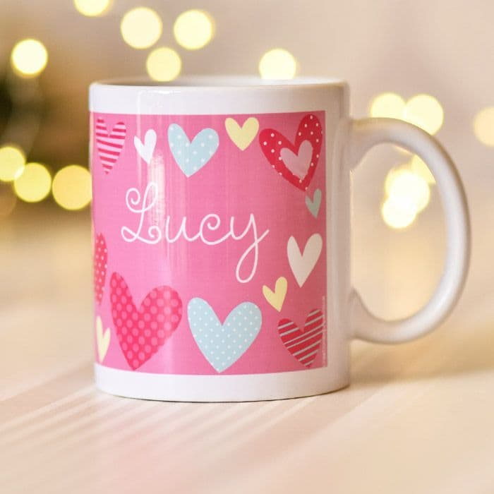 Colourful Hearts On Pink Background - Mug