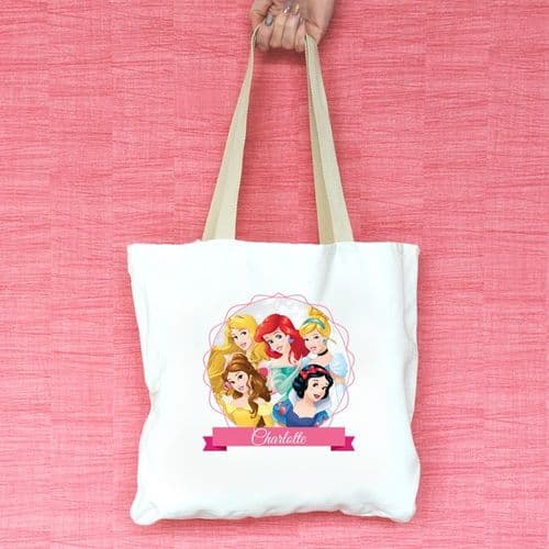 Disney Princess Personalised Tote Bag - Cinderella, Belle, Ariel, Snow White and Aurora - Official Disney Licensed