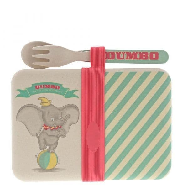 Dumbo Bamboo Snack Box with Cutlery Set