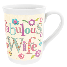 Personalised 'Fabulous Wife' Flower Design China Cup