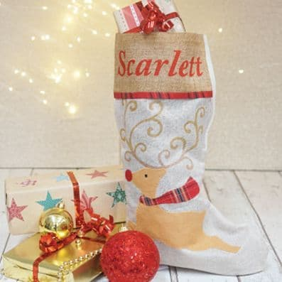 Personalised Hessian Reindeer Stocking