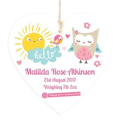 Personalised New Baby Girl Hanging Heart