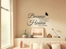 """""""A Little Bit Of Heaven In Our Home..."""" Wall Quote, Sticker, Decal, Transfer."""