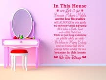 """In This House..We Do Disney"" Wall Quote, Vinyl, Wall Sticker, Modern Transfer"